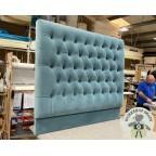 Kingsize Iona Headboard Flat Velvet Blue EX