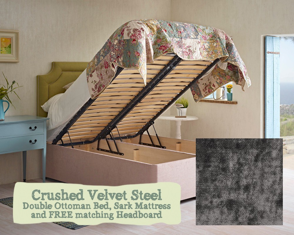 huge discount 80a50 86811 Double Ottoman Bed And Mattress Crushed Velvet Steel EX