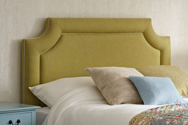 Classic Bordered Shape Annet Headboard in House Linen Kiwi Green with Contrast Piping in Pure Cotton Natural