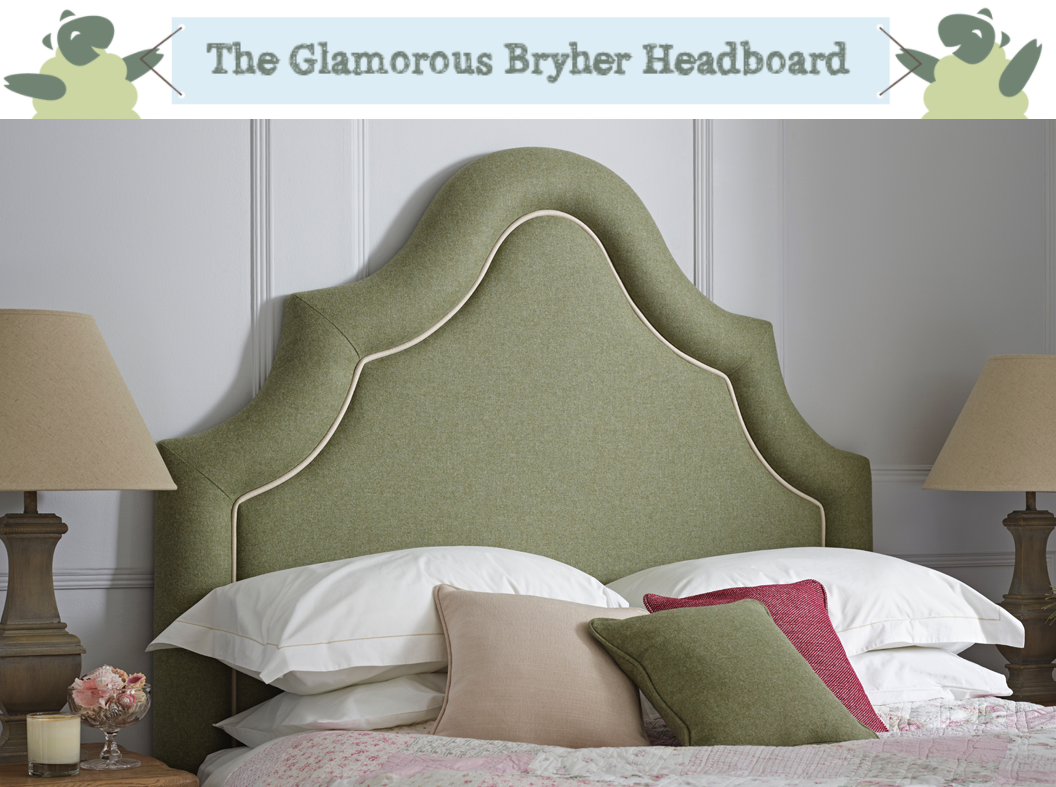 Ornate Curved Border Bryher Headboard upholstered in Pure Wool Plain Willow with Contrast Piping in Pure Cotton Natural