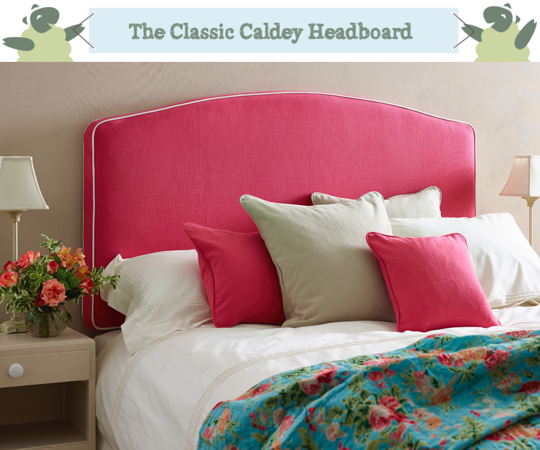 Caldey Curved Headboard in Pure Cotton Coral Pink Fuchsia with Contrast Piping in Weave Natural