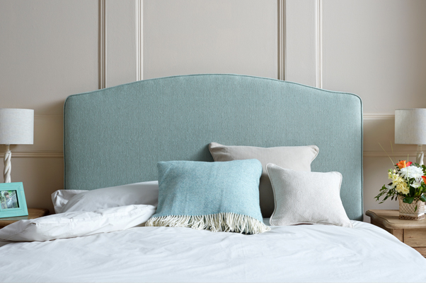 Caldey Curved Headboard in Basket Textured Weave Blue Duck Egg