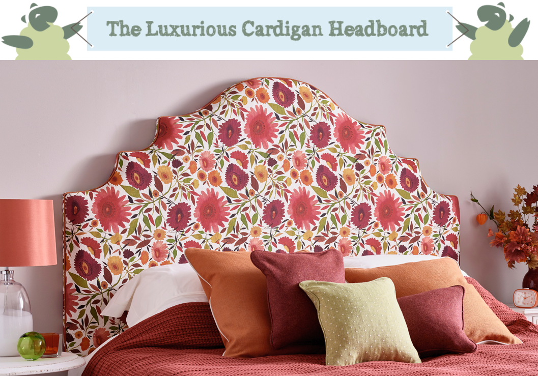 Ornate Curved Shape Cardigan Headboard upholstered in Zinnias Linen Autumn Red Floral Fabric with Contrast Piping in Pure Cotton Rust in a Farrow and Ball Elephants Breath painted room