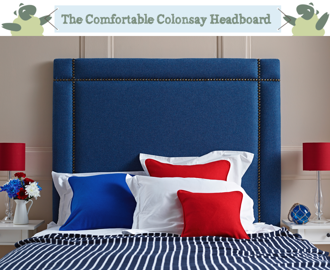 Colonsay Square Studded Border Headboard with Antique Studs Upholstered in 100% Pure Wool Plain Colbalt Blue against a Farrow & Ball Oxford Stone Painted Room