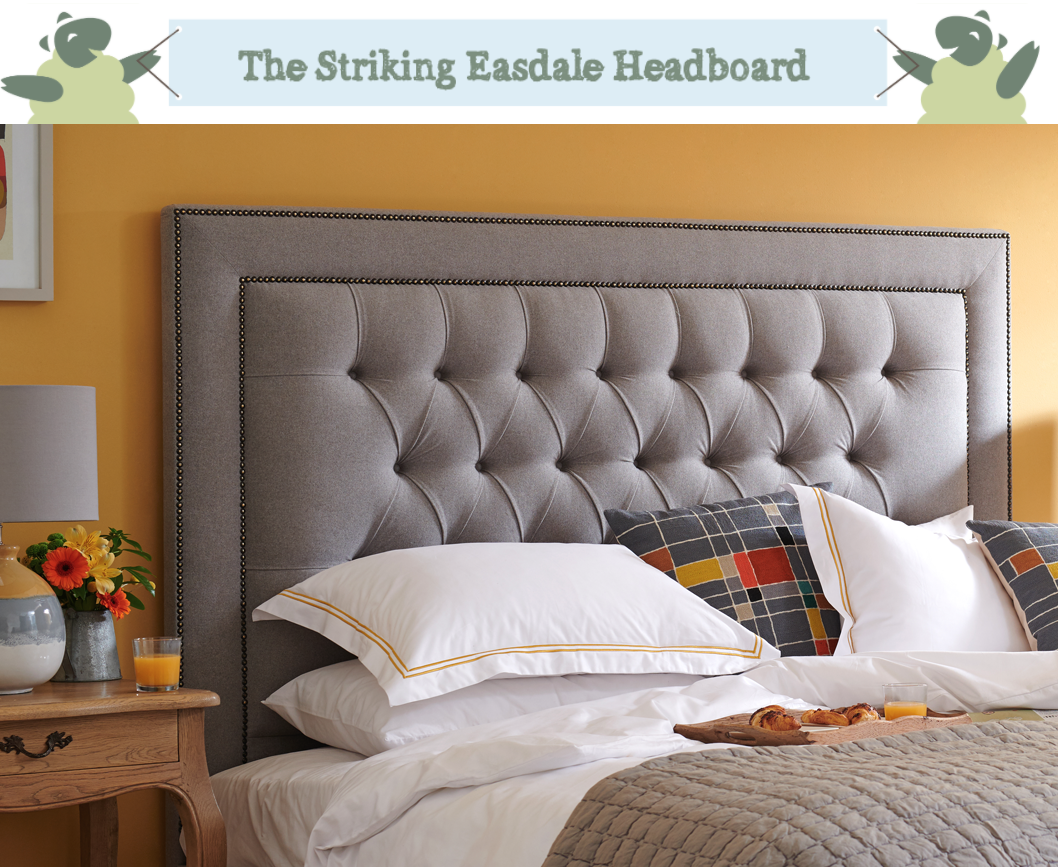 Deep Buttoned With Studded Border Easdale Headboard upholstered in Wool Plain Mid Grey with Vintage Studs and Self Buttoning, in a Farrow and Ball Sudbury Yellow Room