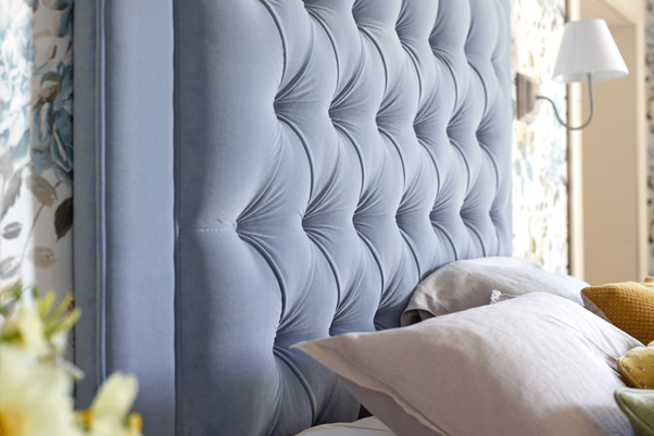 Deep Buttoned With Piped Border Easdale Headboard upholstered in Flat Velvet Wedgwood with Piped Border and Self Buttoning