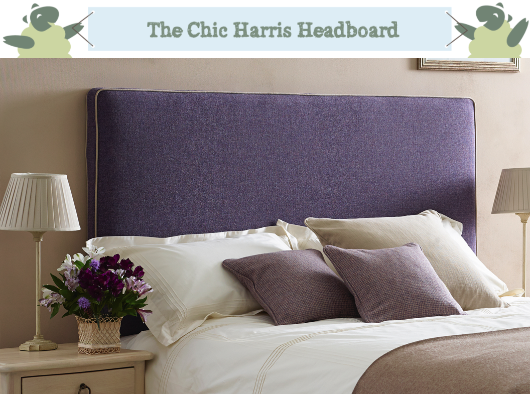 Removable Cover Harris Headboard upholstered in Tweed Purple Heather, Contrast Piped in Pure Cotton Natural