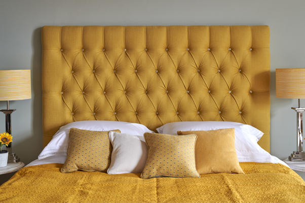 Mustard Yellow Iona Deep Buttoned Headboard in Brushed Linen Iora with Swarovski Crystal Buttoning
