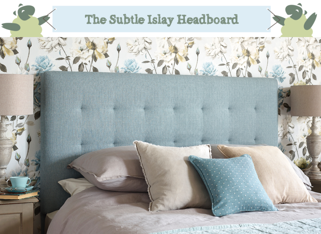 Islay Square Tufted Headboard upholstered in Textured Weave Duck Egg, with subltle pulls, shown in a blue and white floral wallpapered room