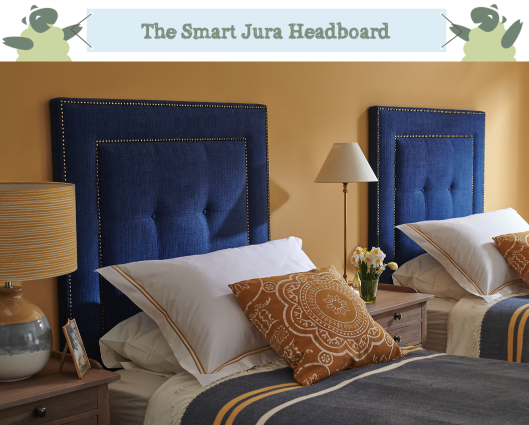 Studded Border Jura Headboard upholstered in House Chenille Sapphire, with Vintage Studs and Self Buttoning in a Farrow & Ball Sudbury Yellow Painted Room