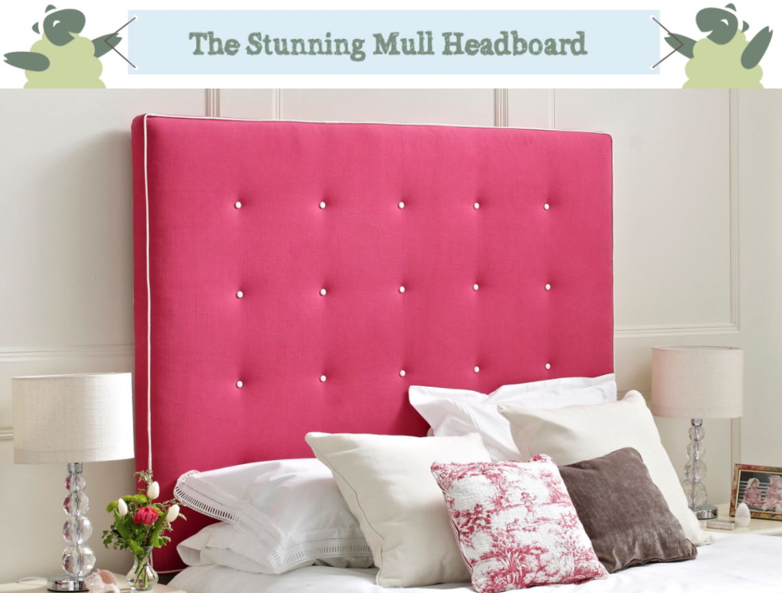 Mull Shallow Buttoned Headboard in Weave Fuchsia with Contrast Piping and Buttoning