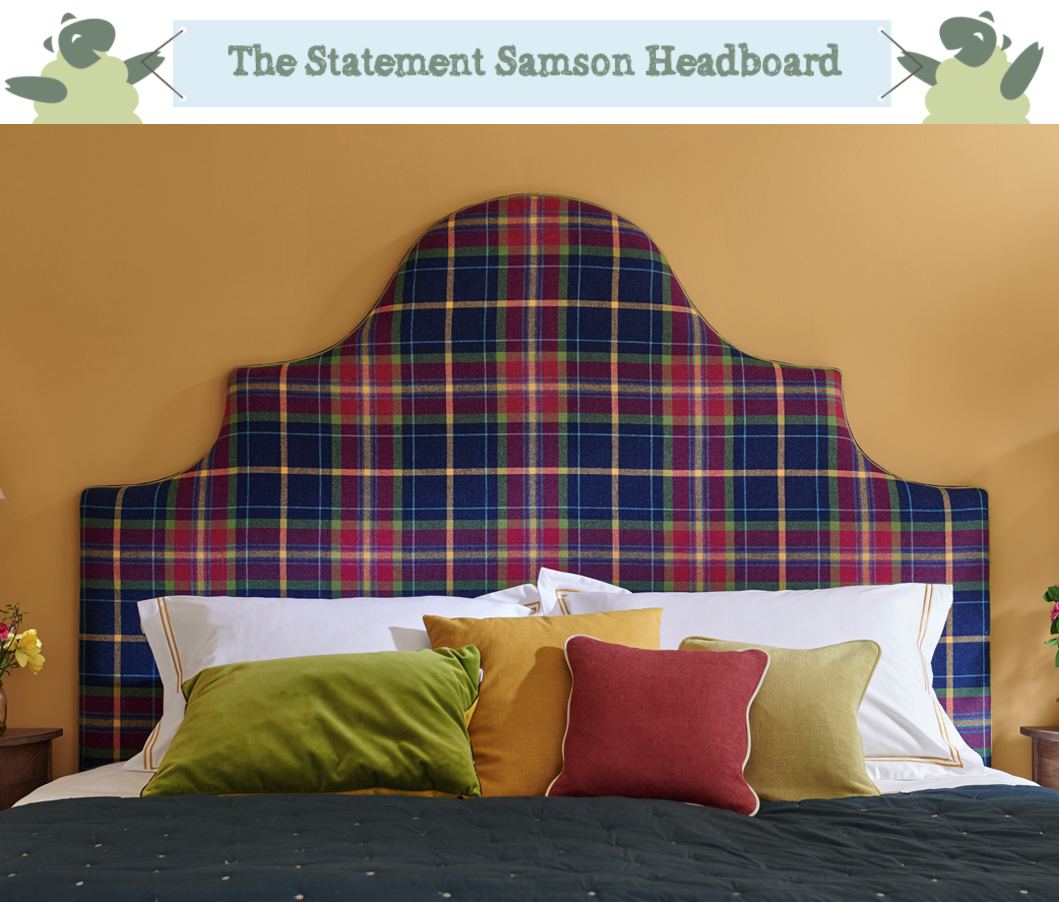 Ornate Curved Shape Samson Headboard upholstered in Highland Pure Wool Check Navy, Aubergine, Red, Lime, Mustard Yellow, with Contrast Piping in Highland Plain Olive Green in a Farrow and Ball Sudbury Yellow painted room