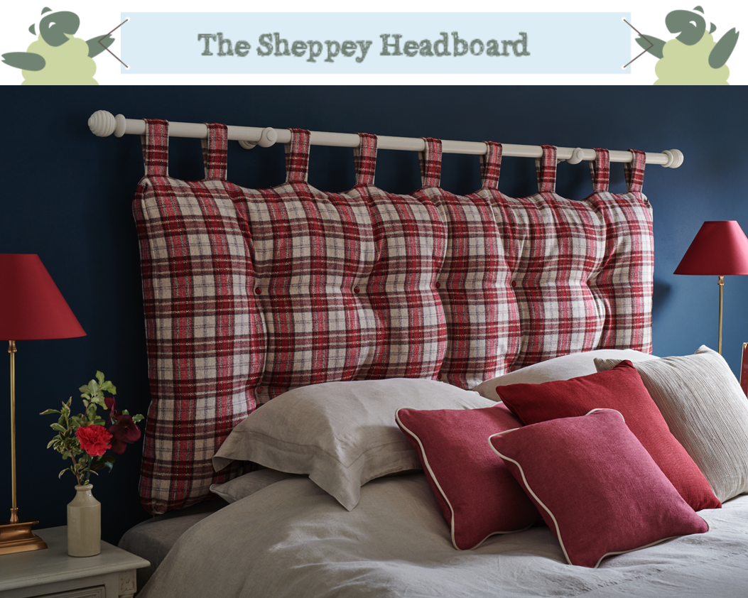 Sheppey Hanging Cushion Style Headboard upholstered in Pure Wool Plaid Red in a Farrow and Ball Hague Blue painted room