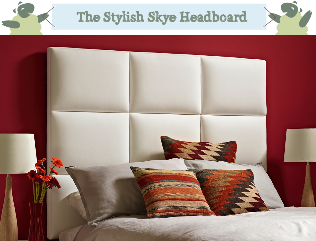 Geometric Block Style Skye Headboard upholstered in Faux Leather White in a Farrow & Ball Rectory Red painted room