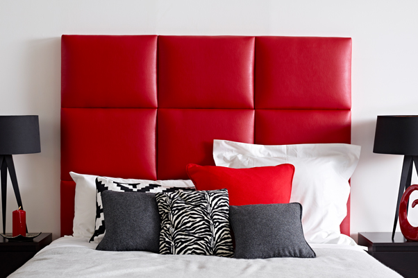 Geometric Block Style Skye Headboard upholstered in Faux Leather Red in a Farrow & Ball All White painted room