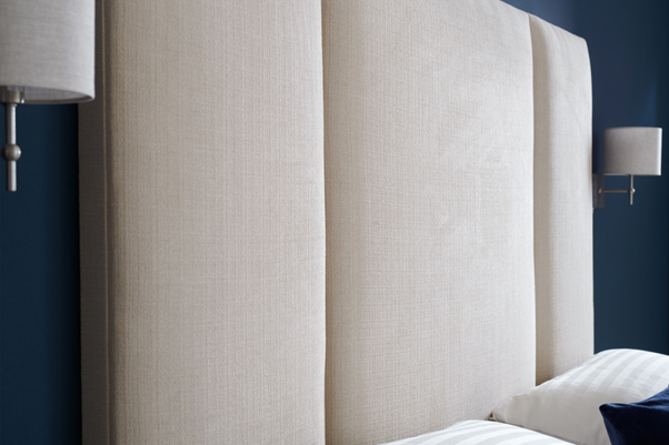 Contemporary Fluted Tiree Headboard upholstered in House Chenille Stone