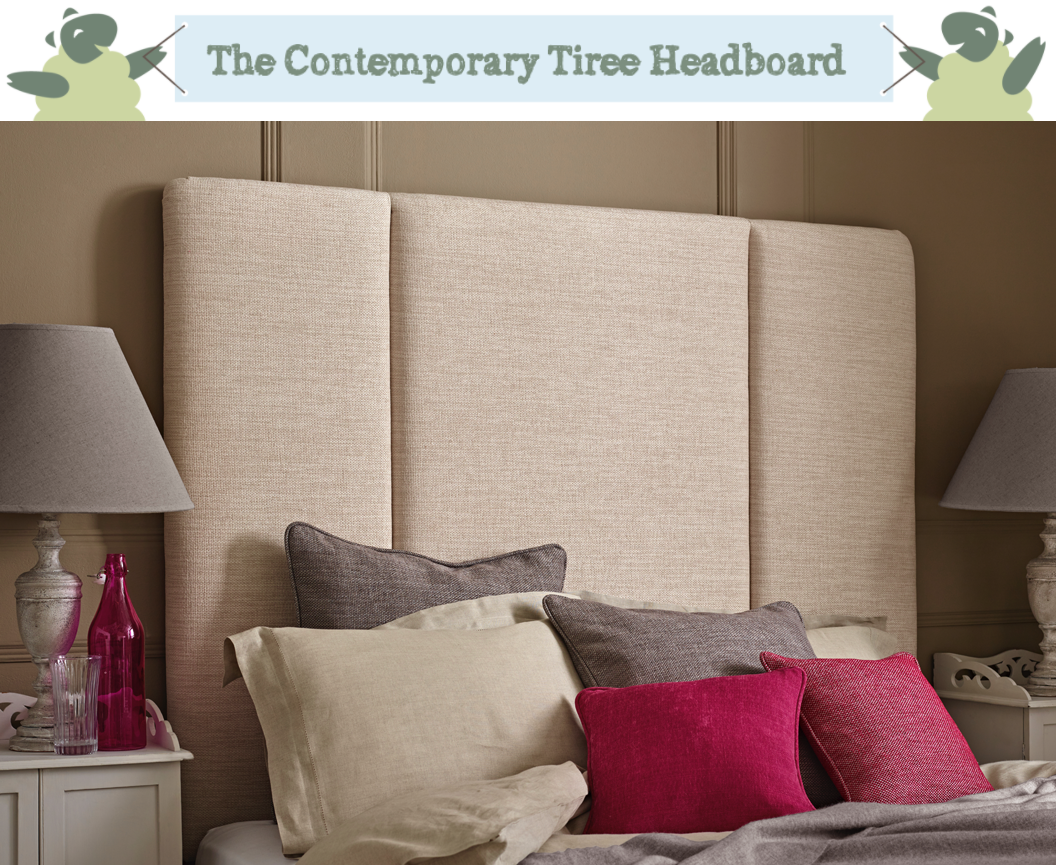 Contemporary Fluted Tiree Headboard upholstered in Basket Weave Natural in a Farrow & Ball Mouse's Back painted room