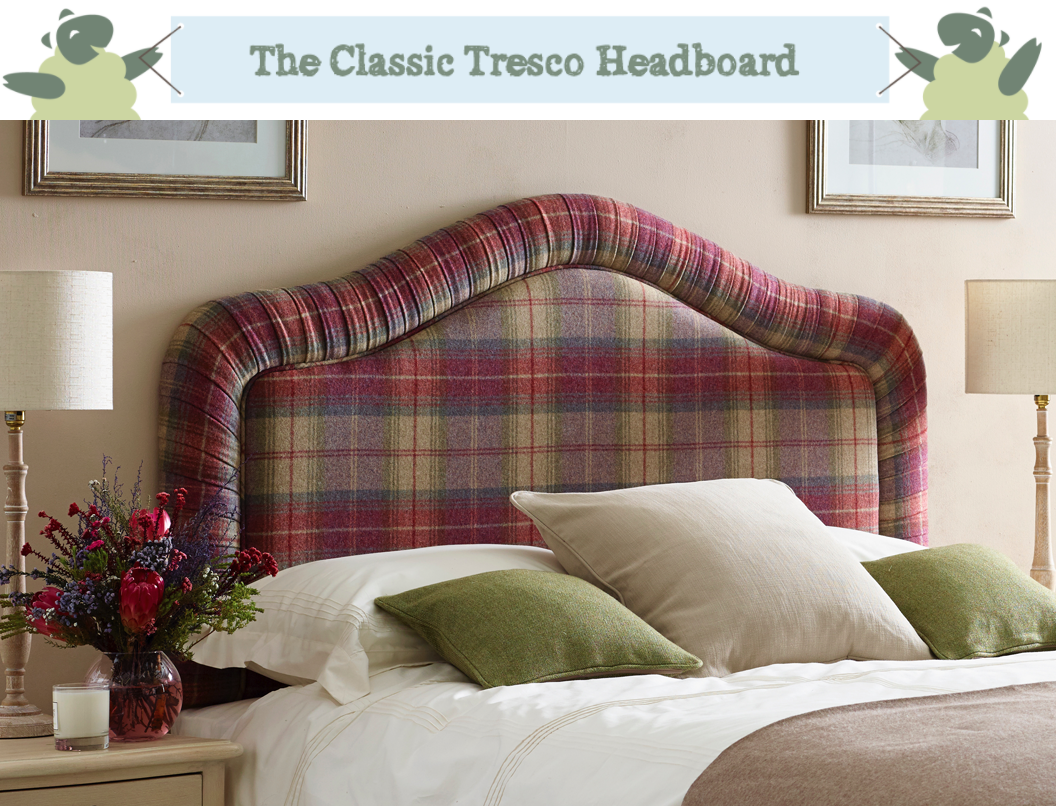 Tresco Classic Curved Pleated Headboard upholstered in Pure Wool Plaid Aubergine Purple in a Farrow and Ball Oxford Stone painted room