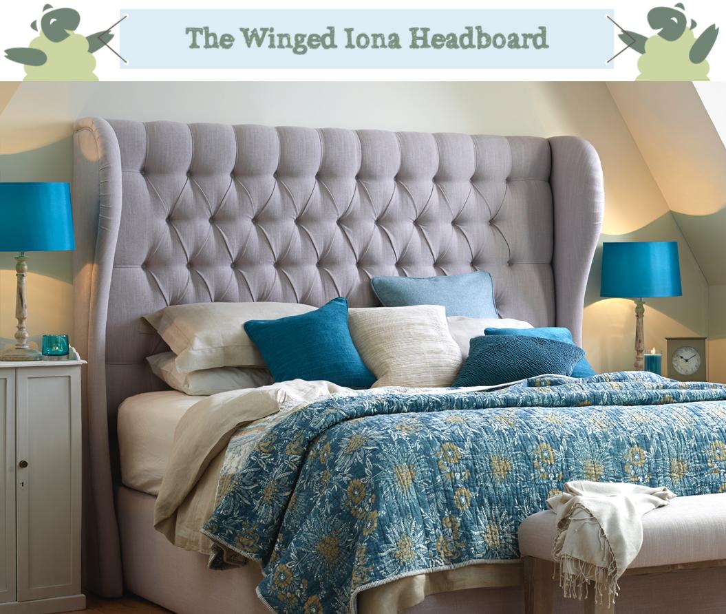 Winged Iona Deep Buttoned Headboard in Light Grey Weave