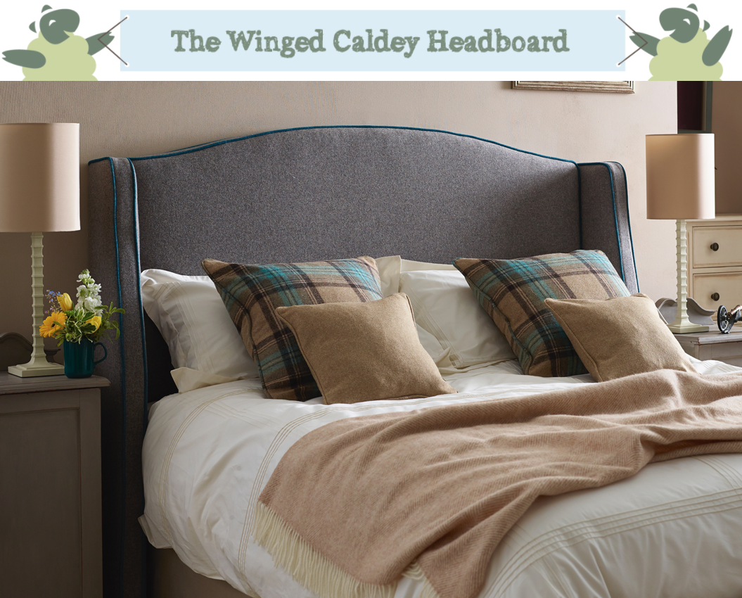 Winged Caldey Headboard upholstered in Wool Plain Mushroom with Contrast Piping in House Weave Teal