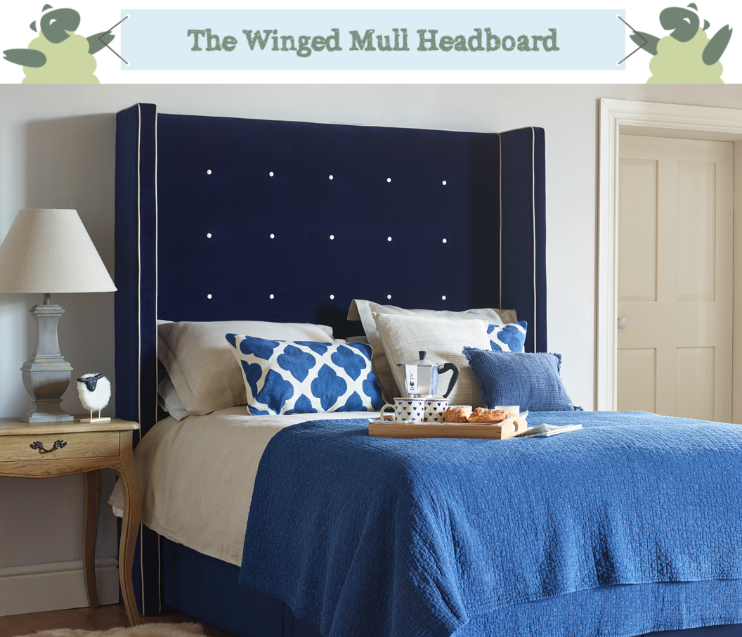 Winged Mull Shallow Buttoned Headboard in Flat Velvet Navy with Contrast Piping and Buttoning in Snow