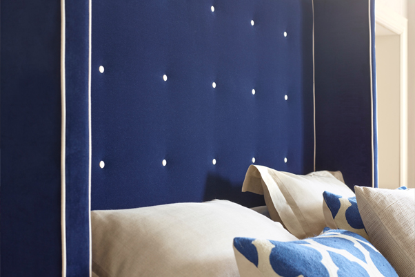 Winged Mull Shallow Buttoned Headboard in Flat Matt Velvet Navy with Contrast Piping and Buttoning in Snow