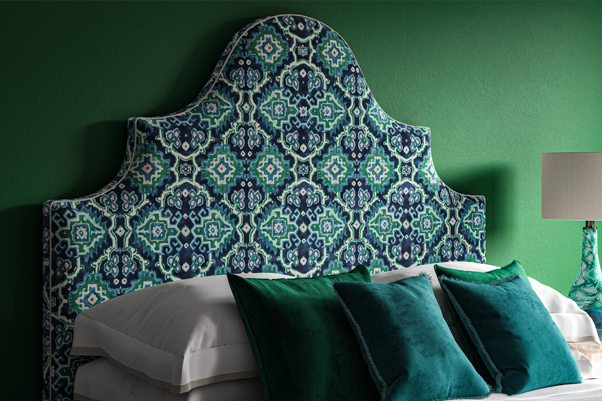 Ornate Curved Shape Samson Headboard upholstered in Linwood's New Kami Seagreen Fabric 2