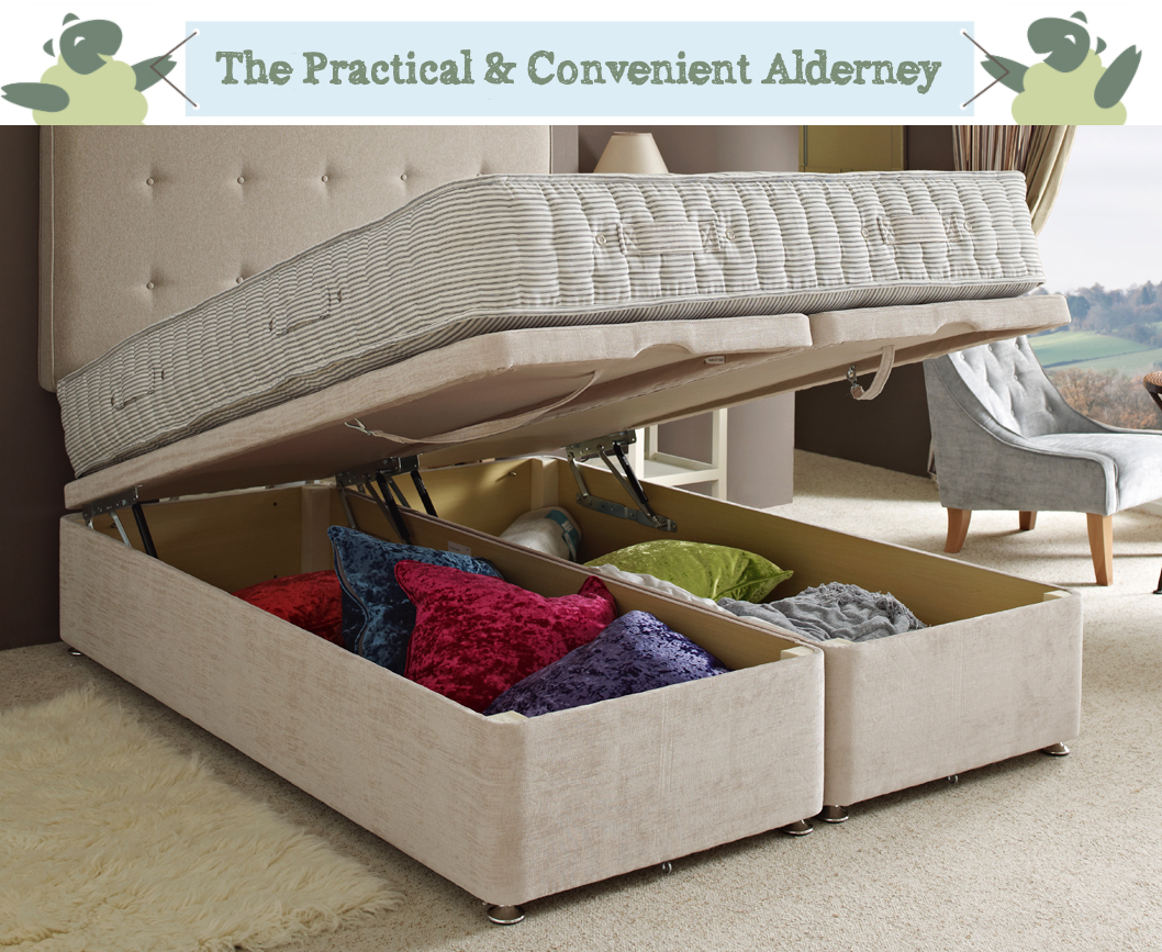 The practical and easy lifting Alderney Ottoman Bed with gas struts for ease of use