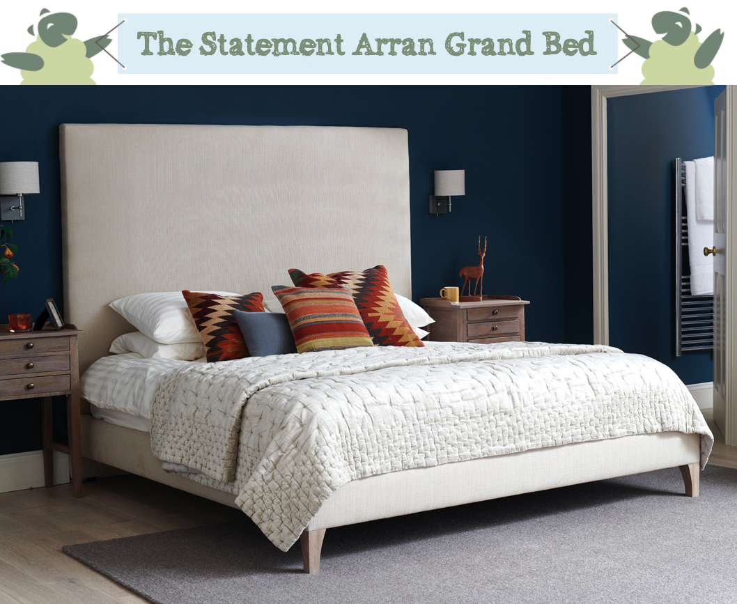 Simple Contemporary Arran Grand Bed upholstered in House Chenille Stone in a Farrow and Ball Hague Blue painted room