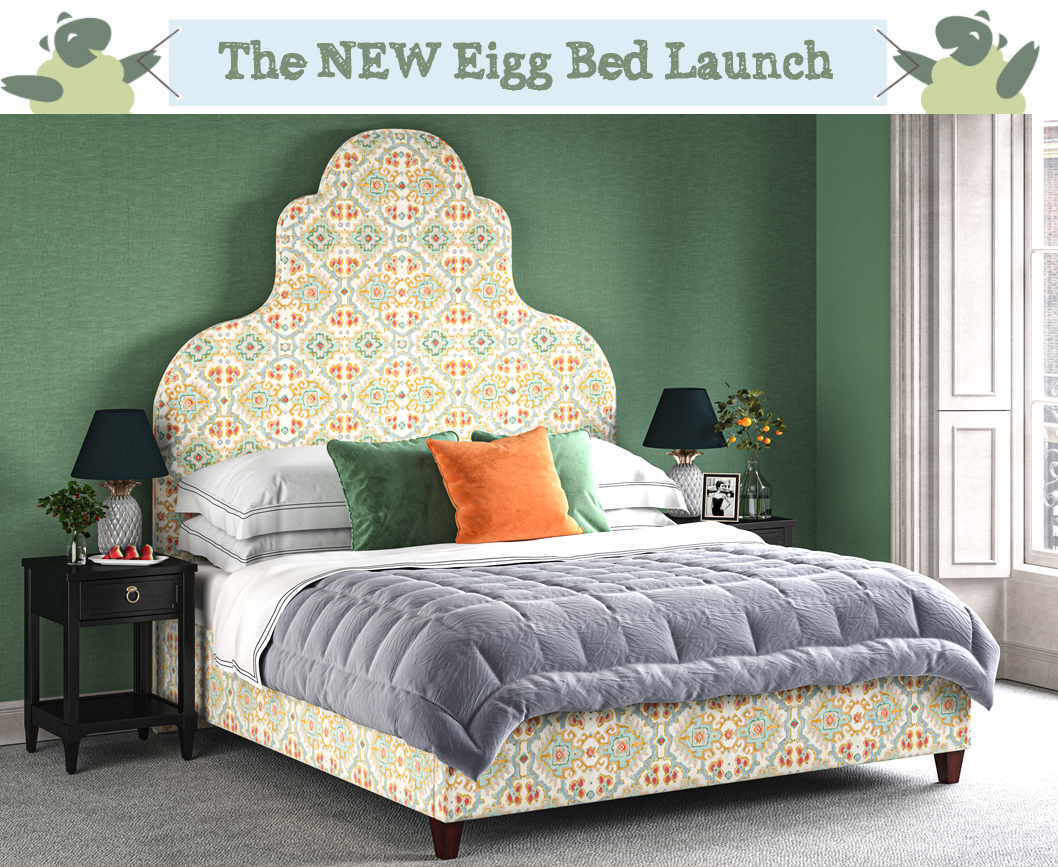 Eigg Keystone Shape Curved Bed upholstered in Linwood Fabric Kami Velvet Jade with self piping