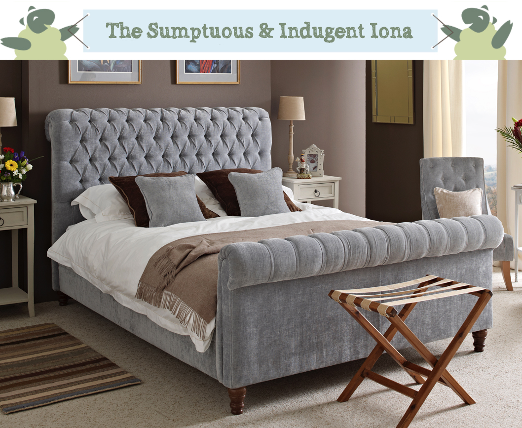 Iona Deep Buttoned Scroll Bed in House Chenille Sky in a Farrow & Ball London Clay painted room