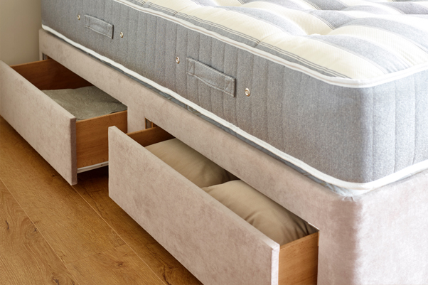 Jersey Divan Base with open full size drawers