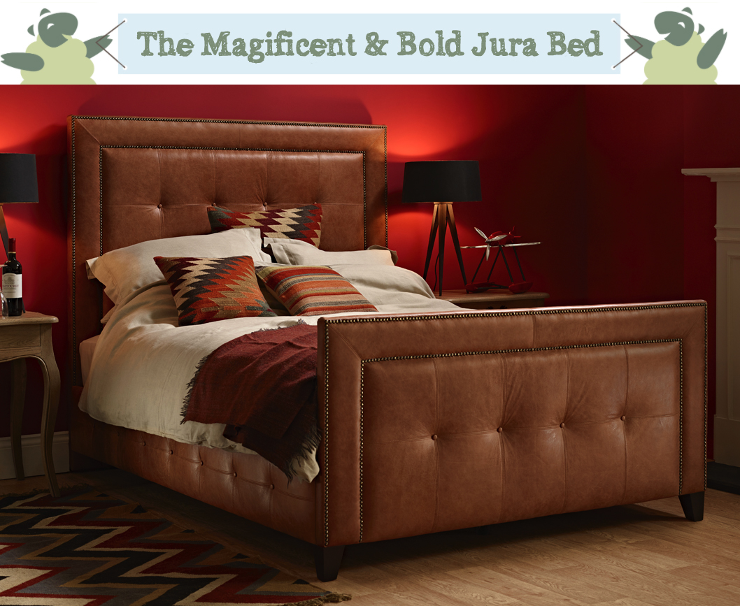 Jura Studded & Panelled Bed upholstered in Antique Matt Leather Honey in a Farrow & Ball Rectory Red painted room