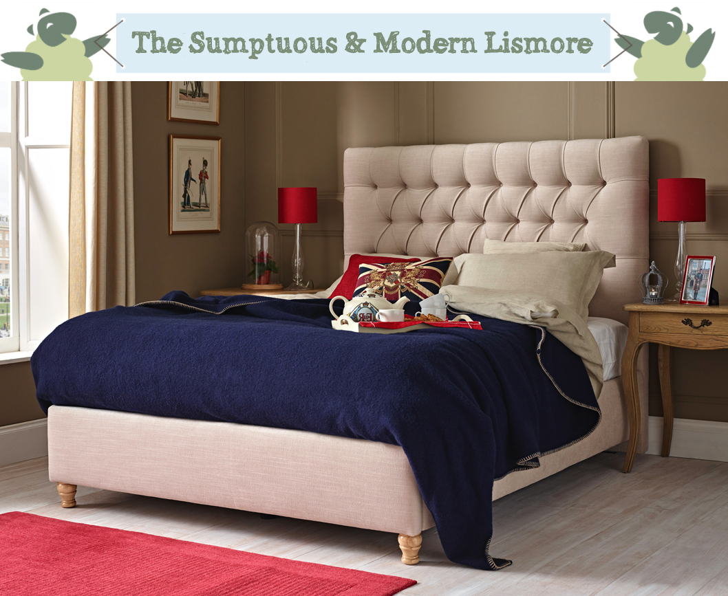 Lismore Deep Buttoned Bed in House Weave Sand with Mouse's Back Farrow and Ball Paint Room and Union Jack Cushion
