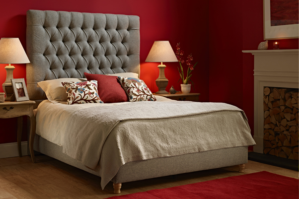 Lismore Deep Buttoned Bed in Pure Wool Mid Grey in a Farrow and Ball Rectory Red painted room