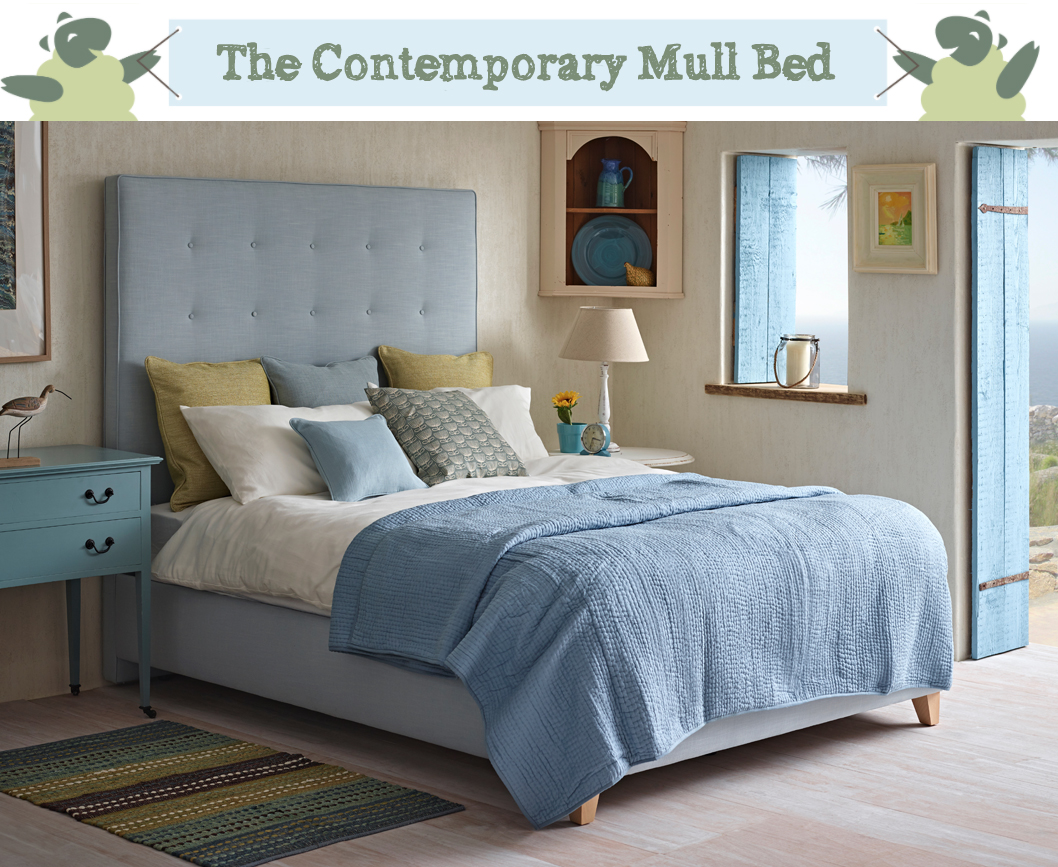 Mull Shallow Buttoned Bed in Pure Cotton Wedgwood with Self Piping and Buttoning