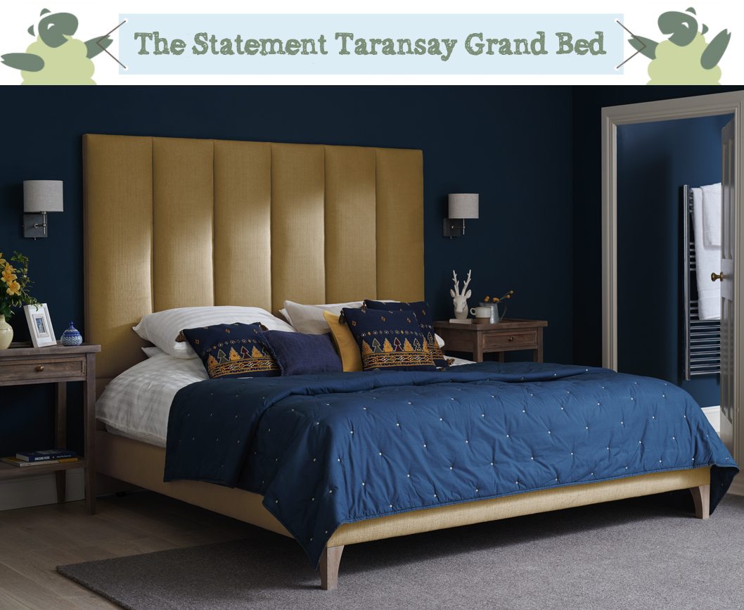 Fluted Contemporary Taransay Grand Bed upholstered in House Chenille Mustard in a Farrow and Ball Hague Blue painted room