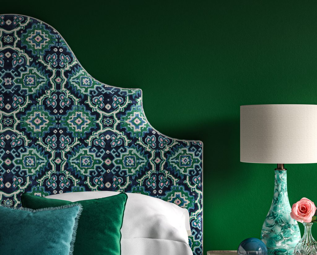 Ornate Curved Shape Samson Headboard upholstered in Linwood's New Kami Seagreen Fabric