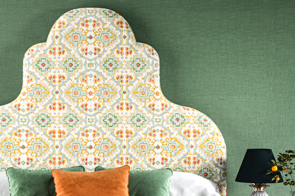 Eigg Keystone Shape Curved Headboard upholstered in Linwood Fabric Kami Velvet Jade
