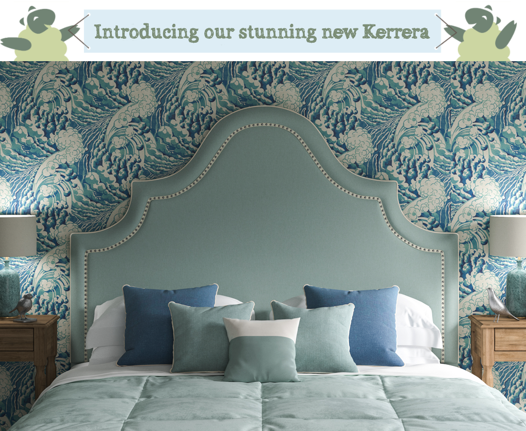 Kerrera Curved Keystone Shape Headboard in House Cotton Peppermint with inset chrome nailed ivory braid, against Linwood wave sea wallpaper