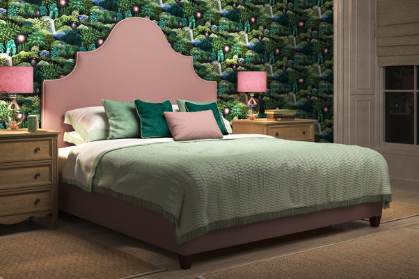 Samson Bed upholstered in Faux Wool Blossom, contrast piped in House Cotton Vanilla, with Linwood Nightfall wallpaper